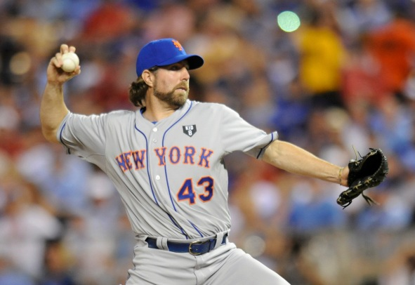 National League All-Star Dickey pitches during the sixth inning in Major League Baseball's All-Star Game in Kansas City