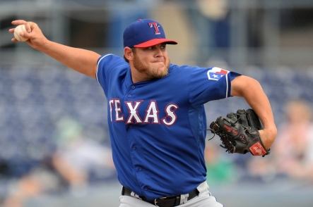 Mar 6, 2014; Peoria, AZ, USA; Texas Rangers relief pitcher Cory Burns (57) pitches against the San Diego Padres in the ninth inning at Peoria Sports Complex. The Rangers won 8-4. Mandatory Credit: Joe Camporeale-USA TODAY Sports