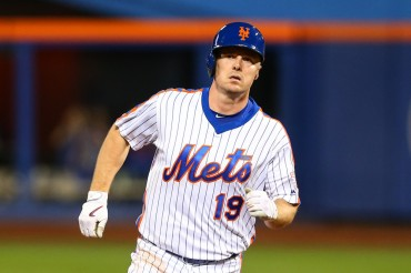 04 SEP 2016: New York Mets right fielder Jay Bruce (19) rounds the bases after hitting a homerun during the game between the New York Mets and the Washington Nationals played at Citi Field in Flushing,NY. (Photo by Rich Graessle/Icon Sportswire)